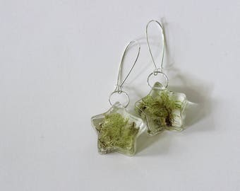 Lichen Infused Star Drop Earrings