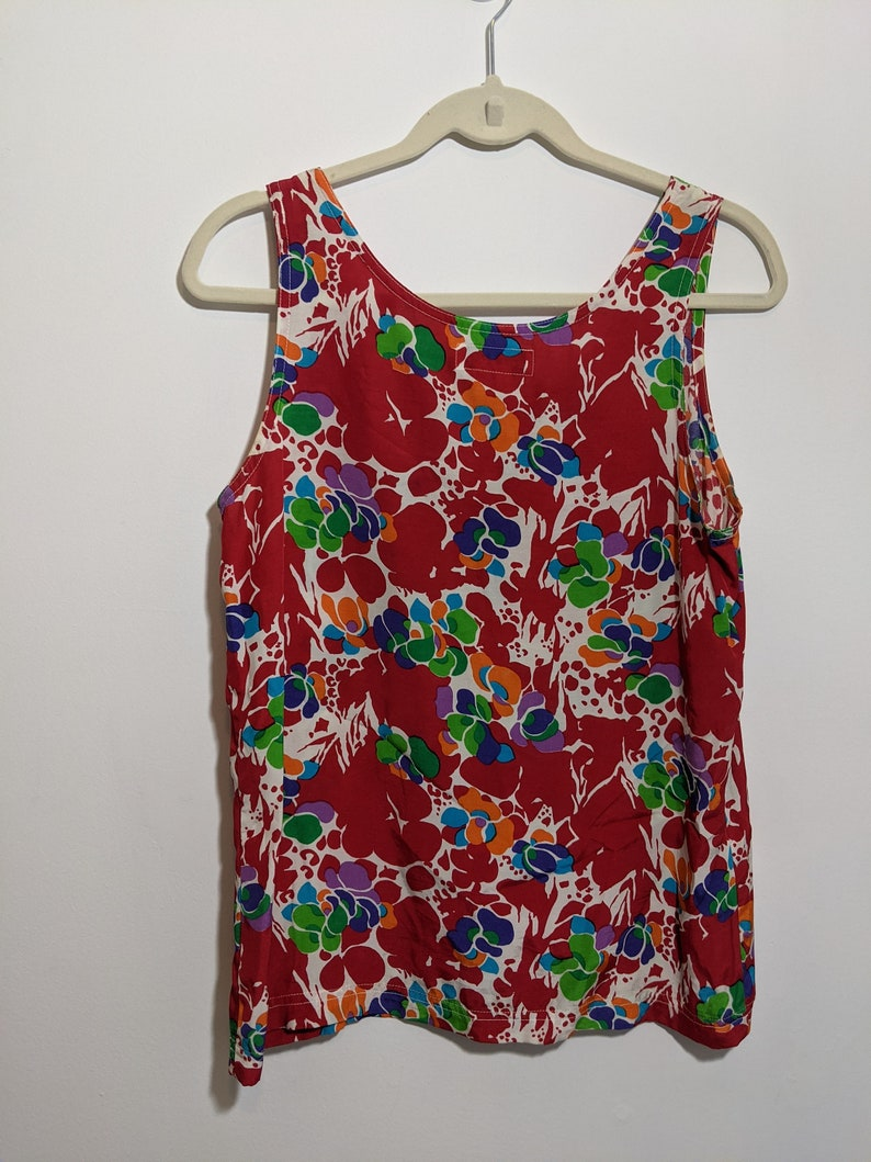 Vintage Guess by Georges Marciano Abstract Print Shell Tank Top in Viscose