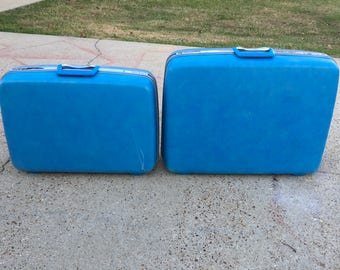 SALE: 1960s Samsonite silhouette hardshell suitcases, blue, set of two