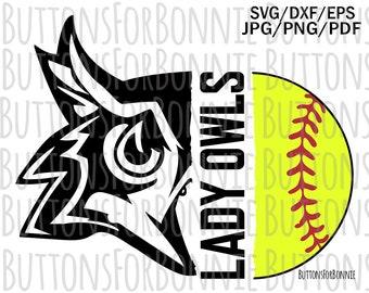 sport svg softball mom svg cut file lady Owls iron on school spirit Owls svg shirt design softball svg cricut team shirt
