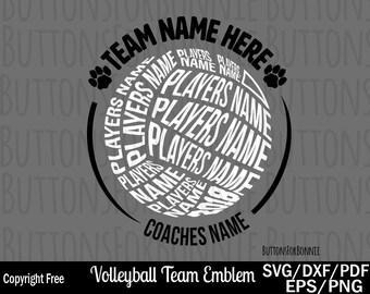 64f8da4b Volleyball svg, Volleyball team svg, back of shirt svg, team members svg,  cut file, volleyball shirt design, cricut, silhouette, template