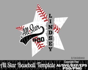 All Star Svg Softball Svg Template Softball Shirt Svg Cut Etsy