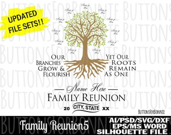 42e9113b299 Family Reunion SVG, tree svg, roots svg, our roots remain one, family tree  svg, template, cutting file, reunion svg, family shirt svg, pdf