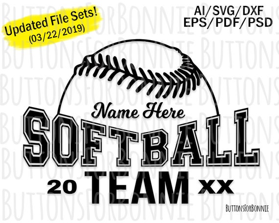 cricut emblem Softball Svg team name stitching swoosh softball team name vector template shirt design logo cutting file