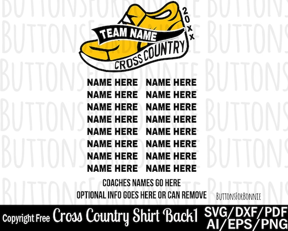 Cross Country Team Svg Template Back Of Shirt Svg Team Etsy