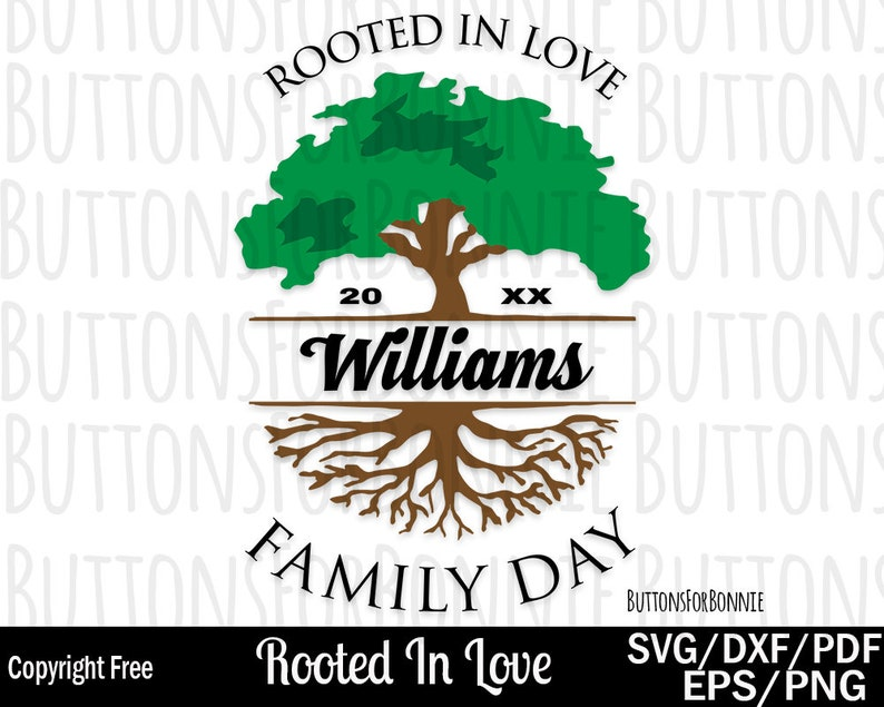 Family Day svg, rooted in love, tree svg, roots svg, template, cutting  file, reunion svg, family shirt svg, cricut, family tree, pdf