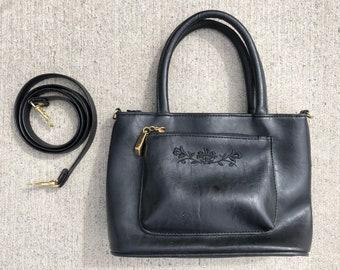 655fcb171b25 Vintage 90s Faux Leather Black Purse Handbag