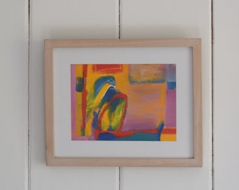 Mixed Media Art Contemporary Art Collectable Stuart Knowles b.1948 Abstract Mixed Media Signed and Dated 1991 Framed Painting Wall Decor