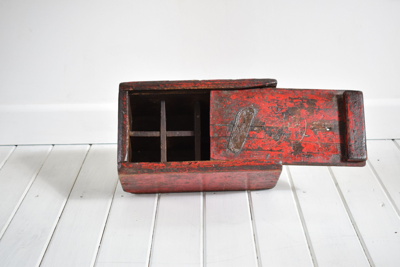 Boîte à artistes antique, en bois, rouge, artistes boîte boîte boîte peinte, Vintage Art Box, Antique boîte en bois, rustique, boîte de rangement en bois, Art Antique, cadeau rustique ce5cf0