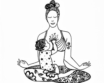 Zen Mama. Instant Digital Download of Original Drawing. Breastfeeding Art, Illustration, Motherhood, Yoga, Pen Drawing, Gift for Mum