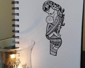 Ensemble, téléchargement téléchargement numérique du dessin Original de stylo. Art de la maternité, mère et enfant, Zentangle, Illustration, maman et bébé, cadeau
