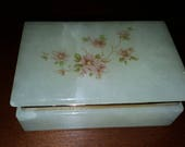 Lefton Genuine Alabaster Jewelry Trinket Hinged Lidded Box Decorated In A Delicate Floral Pattern, Made In Italy c1960 39 s 70 39 s, IT-303