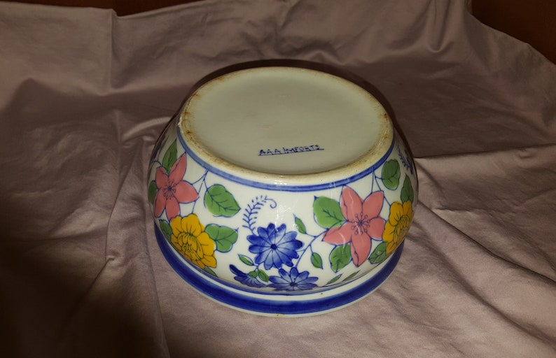 Bottom Stamped And Made c1970/'s80/'s Wide Pot Bellied Design AAA Imports Multi Colored Indoor Asian Planter Decorated In A Floral Pattern