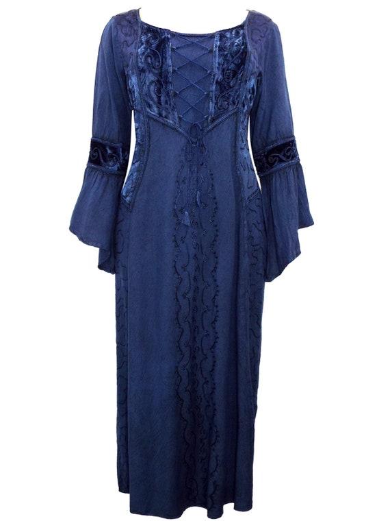 7dc5090716e Eaonplus NAVY BLUE Dark Seduction Rayon Velvet Lace-Up Corset