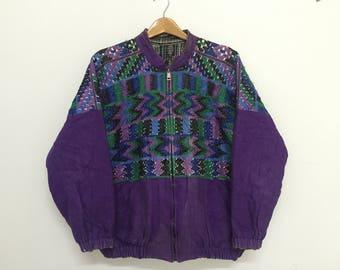 Sale!! Sale!! Vintage 80s Nebaj Guatemala Reversible Jacket Hand Embroidery Ideal Zipper Rare Ozje4Jh