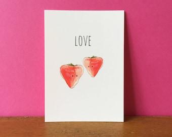 Strawberry Love A6 card