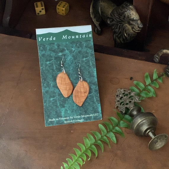 Vermont Native Hardwood Earrings made from selected choicesections of wood Pignut Hickory Burl