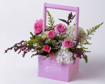 Flowers basket Wood basket Floral box Floral basket Floral pot Flower box Decor basket Decor box Home gift idea Wedding decorations