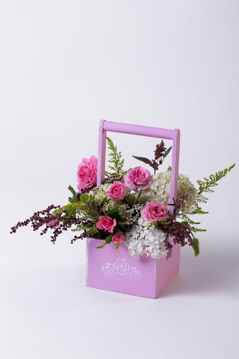 Flowers basket Wood basket Floral box Floral basket Floral pot image 1