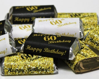 60th Birthday Miniatures Candy Bar Wrapper Set Of 60 Mini Stickers 3 Designs 24 Gold Black 12 White Not Included
