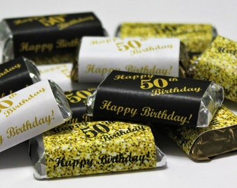50th Birthday Miniatures Candy Bar Wrapper Set Of 60 Mini Stickers 3 Designs 24 Gold Black 12 White Not Included