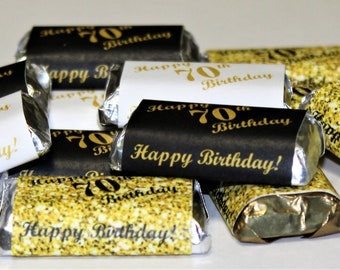70th Birthday Miniatures Candy Bar Wrapper Set Of 60 Mini Stickers 3 Designs 24 Gold Black 12 White Not Included
