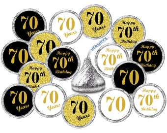 70th Birthday Kisses Stickers Set Of 324 Labels For Hersheys Party Favors Decor