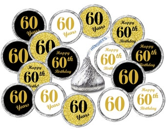 60th Birthday Kisses Stickers Set Of 324 Labels For Hersheys Party Favors Decor