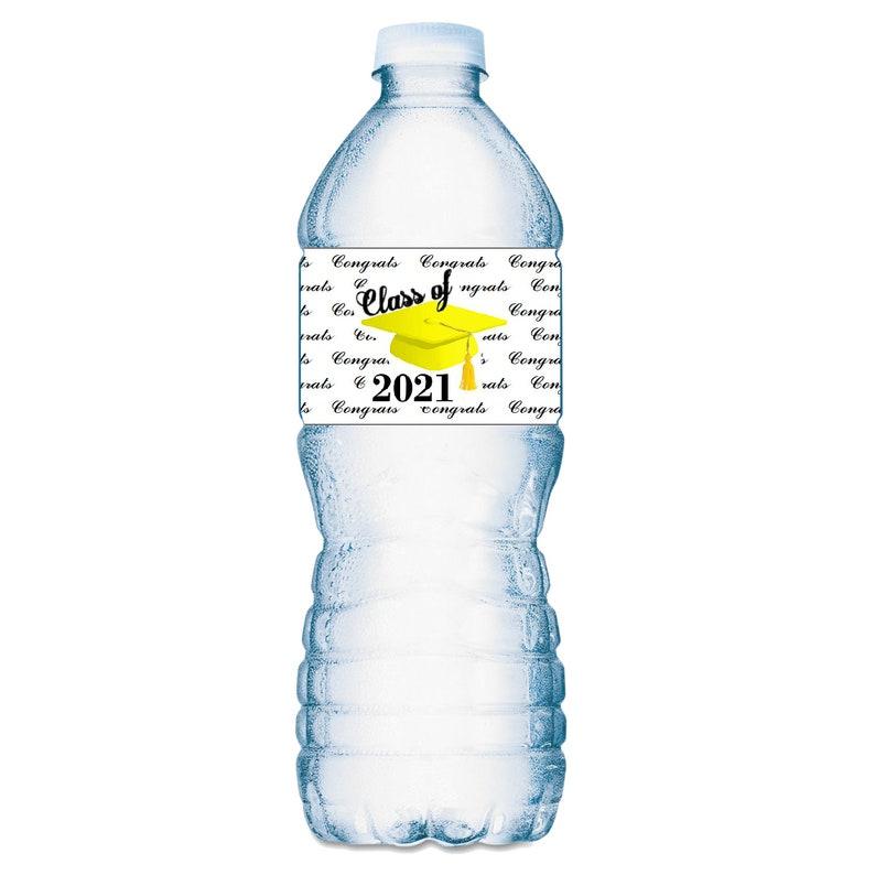 20 Graduation Cap Class of 2021 Water Bottle Labels Set of 20 Waterproof Water Bottle Wrappers; Color Black