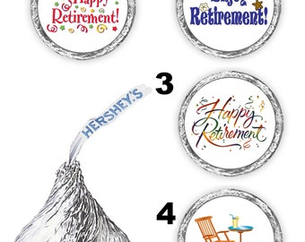 108 happy retirement party hershey kisses labels favors stickers decals envelope seals (candy not included)