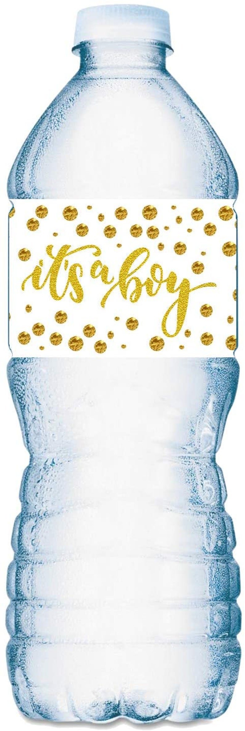 20 Gold  Oh Baby Its a Boy Water Bottle Labels; Baby Shower Set of 20 Waterproof Water Bottle Wrappers; Gold and White.