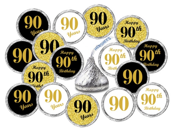 Stickers for Hershey Kisses Set of 324 Gold /& Black 90th Birthday Party Decorations