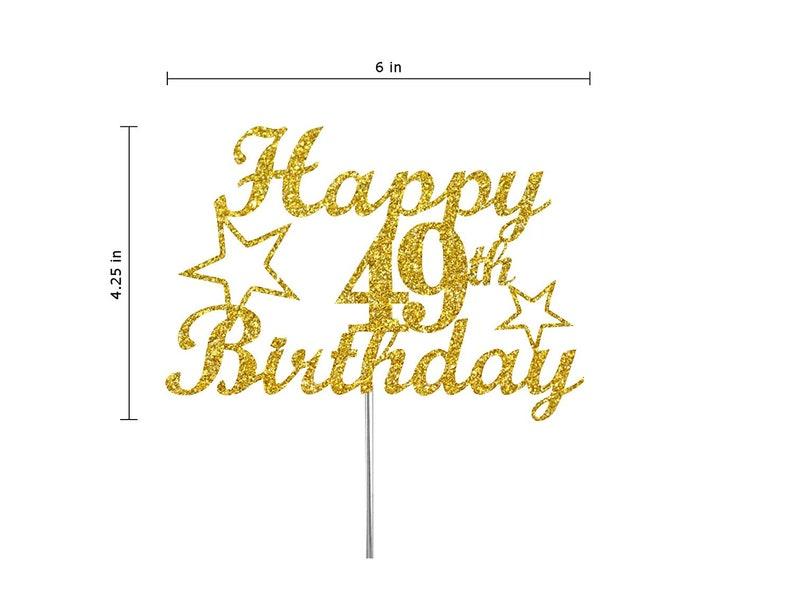 Double Side Glitter 49th Birthday Cake toppers, Adult Party Glitter 49th Birthday Party Decorations Gold Glitter 49th Birthday Milestone