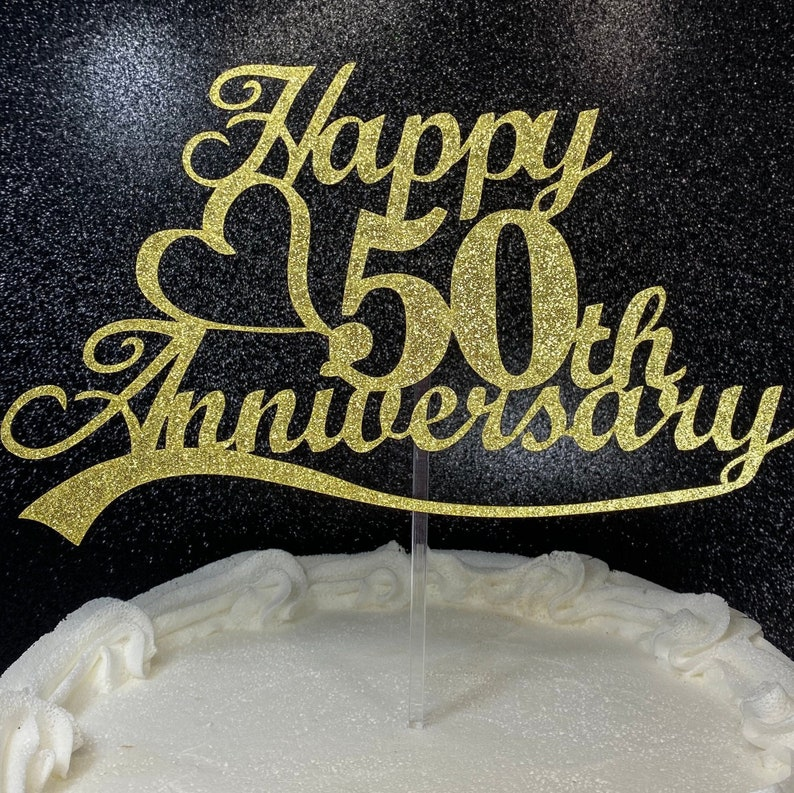 Double Sided Gold Glitter 50th Wedding Anniversary Cake Topper 50th Cake Topper 50th Anniversary Decoarations 50th Anniversary Cake Topper