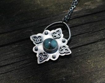 Flowery SEVEN DWARFS PENDANT - Handmade - Sterling Silver Pendant - Turquoise Pendant - 7D - Ready To Ship - Gift For Her