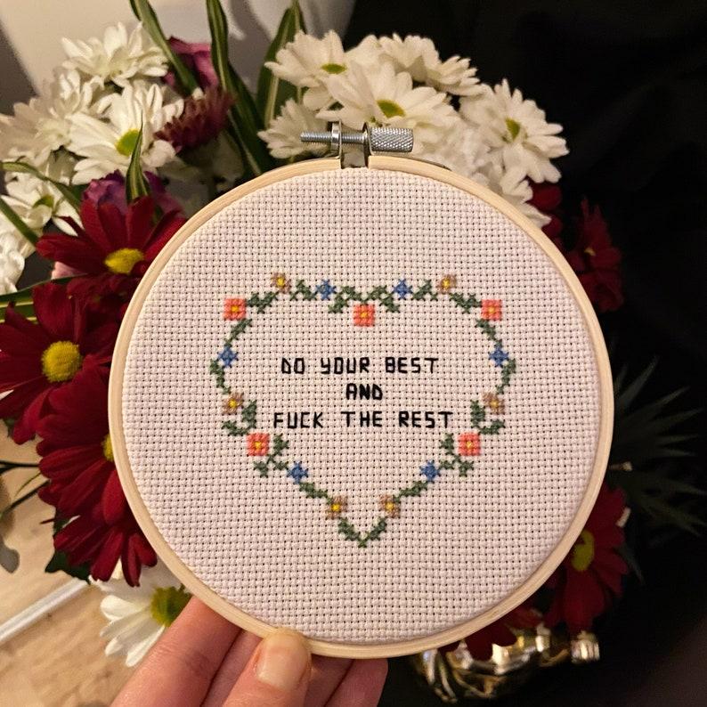 Do Your Best Handmade Cross Stitch Embroidery Hoop Movies Comics Computer Games Geek Heart Love Mental Health Home Decor Positivity Gift