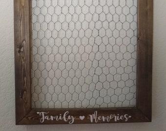 Chicken Wire Frame Medium - Chicken Wire Picture Frame - Rustic Picture Frame - Personal Picture Frame Vertical - FAMILY MEMORIES