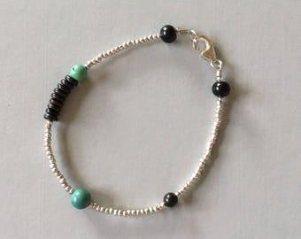 925 Sterling Silver Seed Bead Bracelet, Turquoise  Bracelet, Black Wood Bead Bracelet, Gift for Her
