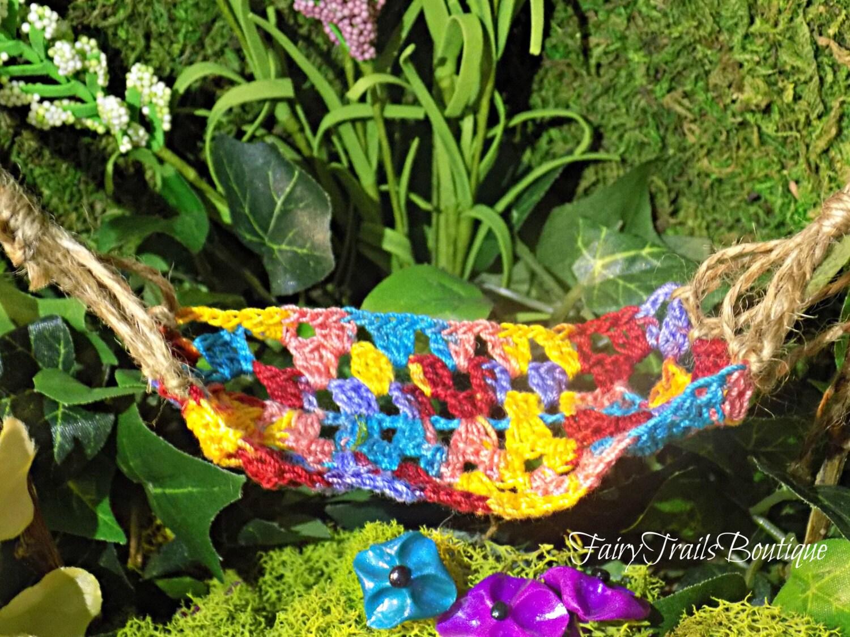 Rainbow Crocheted Fairy Hammock Swing Fairy Garden Furniture Etsy