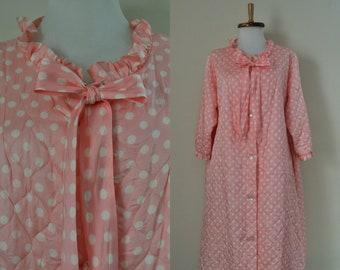 bcf4bc00dd Vintage Quilted Robe   60s Pink White Polka Dot Bathrobe   1950s 1960s  Valentines Day Ruffle Button Up Dressing Gown Loungewear Lounge Craft