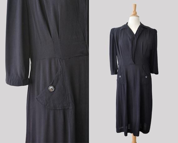 40s Black Dress / Vintage 1940s Crepe Collared Wra