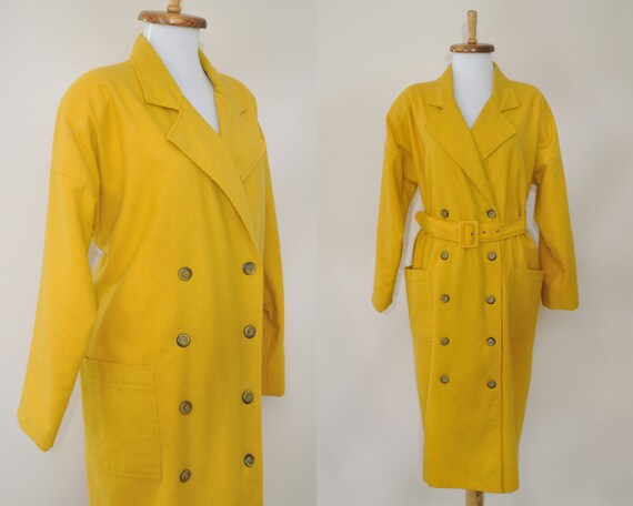 80s Yellow Coat / Vintage 1980s Mustard Shoulder P