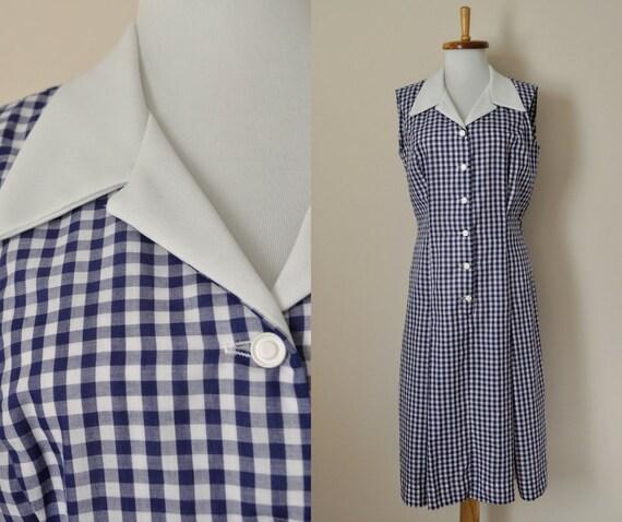 Gingham Summer Dress Women 1960s Button Up Medium M Vintage 60s Blue Sundress