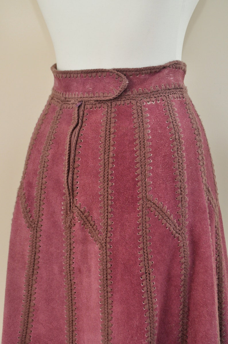 70s Patchwork Skirt  Vintage 1970s Purple Suede Leather Crochet High Waisted A Line Midi  Women Medium  60s Boho Hippie Bohemian Festival