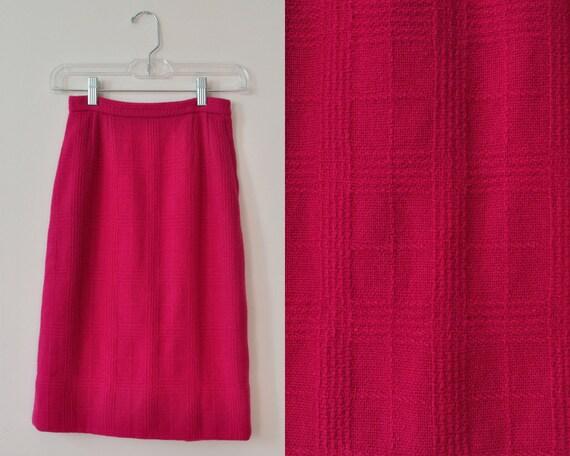 50s Hot Pink Skirt / Vintage 1950s 1960s Magenta P