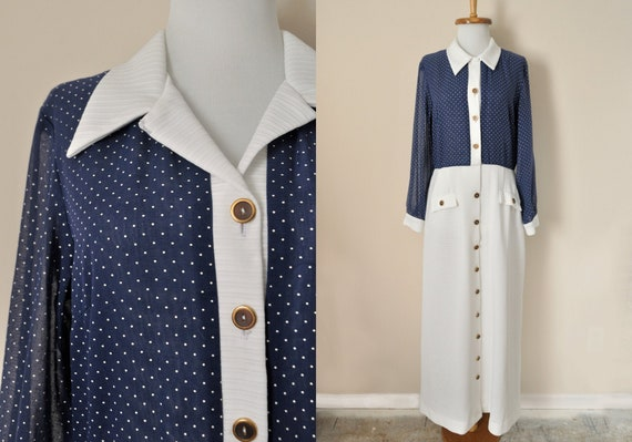 70s Maxi Dress / Vintage 1970s Navy Blue White Pol