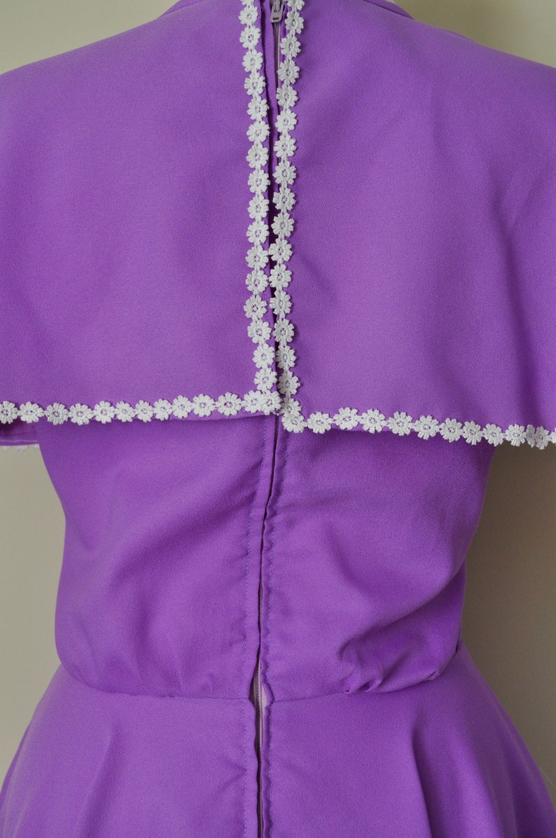 60s Purple Dress  Vintage 1960s 1970s Pastel Lavender Lilac Flutter Cape White Floral Trim  Women Medium  70s Spring Easter Daisy Mod Day