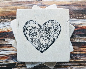 Clockwork Heart Coasters, Mechanical Heart Coasters, Steampunk Stone Coasters, Gears and Sprockets Gift, Steampunk Gift, Birthday Gift