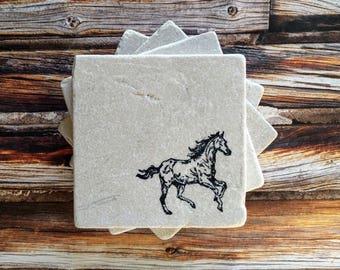 Horse Stone Coasters Riding Gift Equestrian Idea Lover Home Decor Stallion Pony
