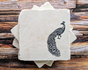 Wonderful Peacock Coasters, Peacock Gift, Peacock Stone Coasters, Peacock Home Decor,  Peacock Office Gift, Peacock Hostess Gift, Birthday Gift For Her